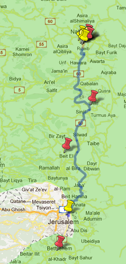 map of trek into Samaria