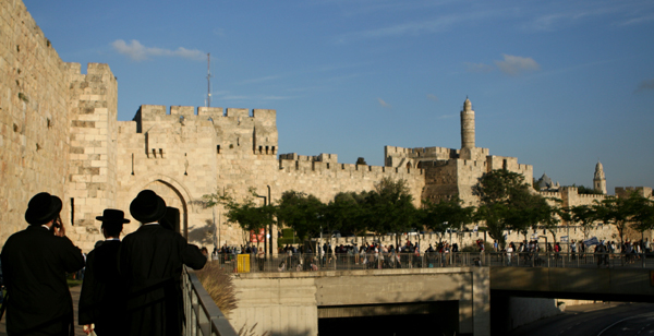 Israelis walk toward the Jaffa Gate of the Old City on Jerusalem Day.
