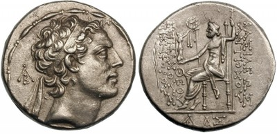 Coin of Antiochus IV who called himself Ephiphanes. The Greek inscription translates King Antiochus, God Manifest, Bearer of Victory. (Credit: Classical Numismatic Group via Wikimedia Commons.)