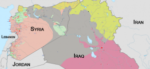 A map of the territory that the Islamic State has claimed from Syria and Iraq as of June. Click on map to see larger.