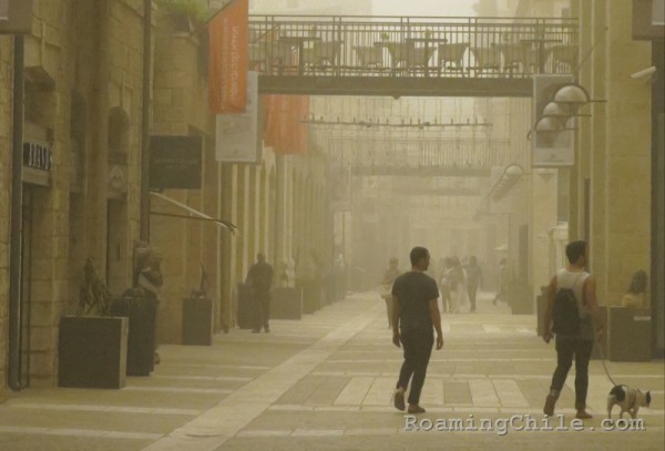 A sandstorm shrouds the outdoor Mamilla Mall in Jerusalem on Sept. 8, 2015.