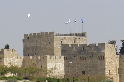 A surveillance flies over the Tower of David Museum in Old City Jerusalem.